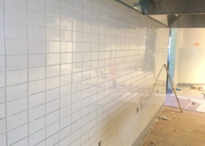 tile floor installation-close up of a tiled wall