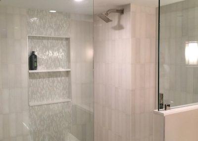 tile floor installation-glass shower door