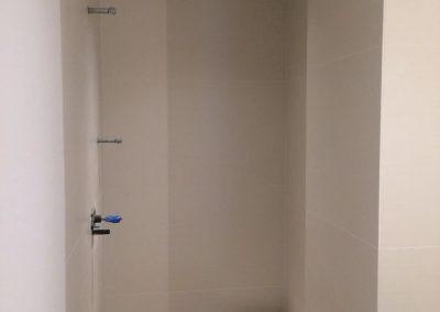 tile floor installation-under construction shower room