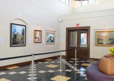 tile floor installation-living room with frames
