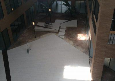 A Large Building tile flooring installation