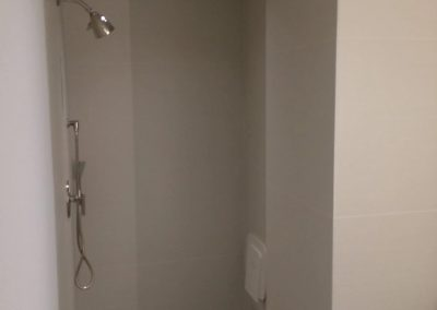 hard floor installation-view of the shower