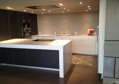 hard floor installation-kitchen with a stove and a sink