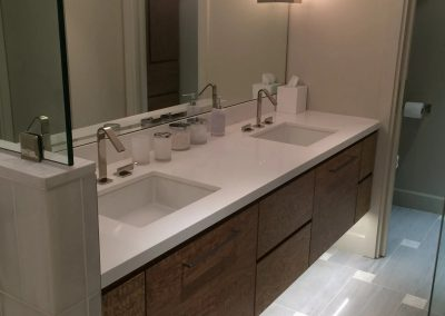 tile floor installation-double sink and large mirror