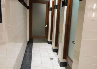 tile floor installation- public restroom