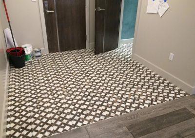 tile floor installation-unfinished room